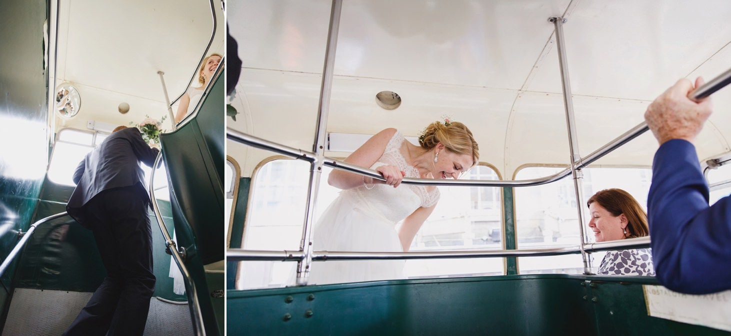 Bodleian library wedding bride and groom on vintage bus