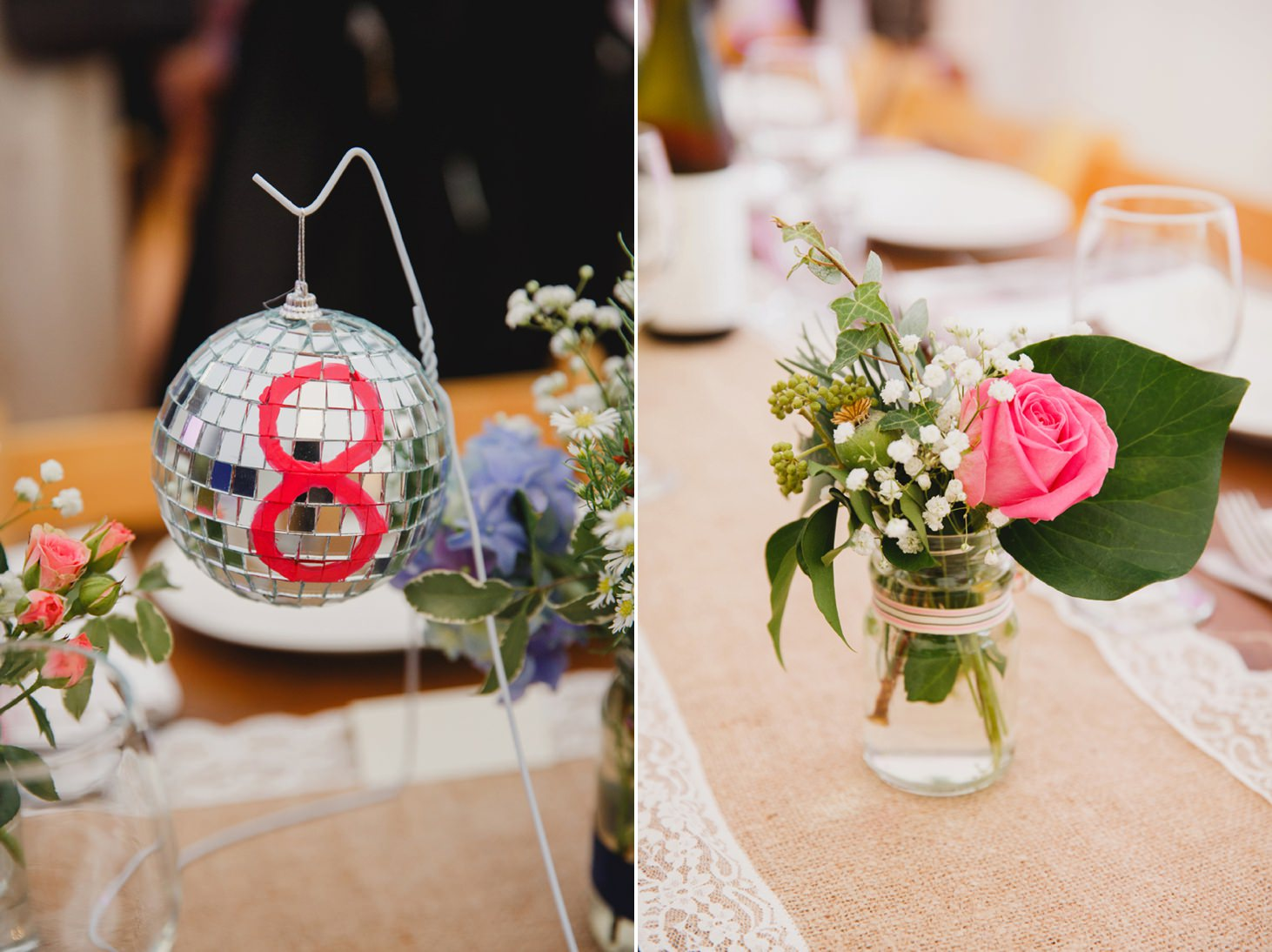 Bodleian library wedding glitter ball table numbers