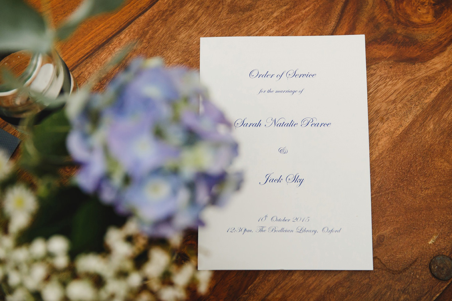 Bodleian library wedding order of service
