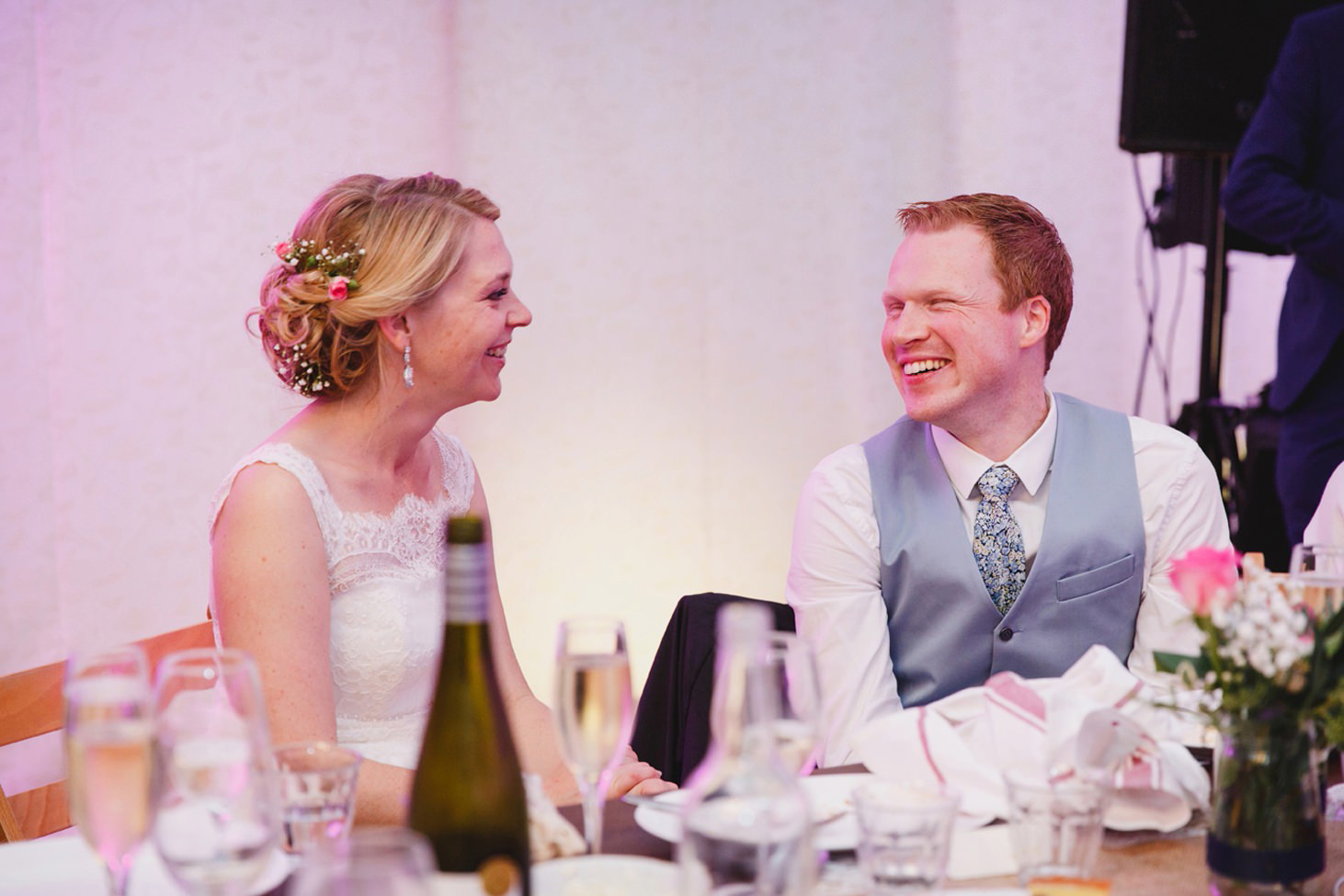 Bodleian library wedding bride and groom laughing together in speeches