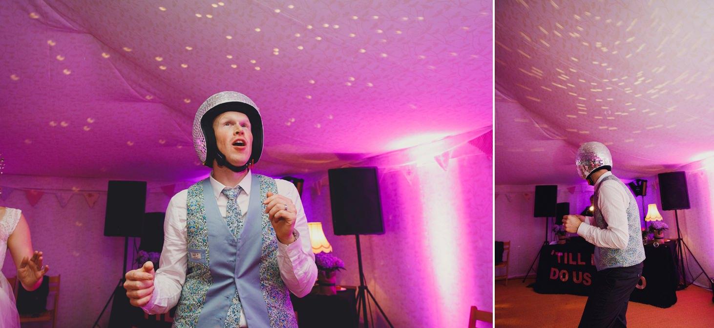 Bodleian library wedding groom wearing disco ball helmet