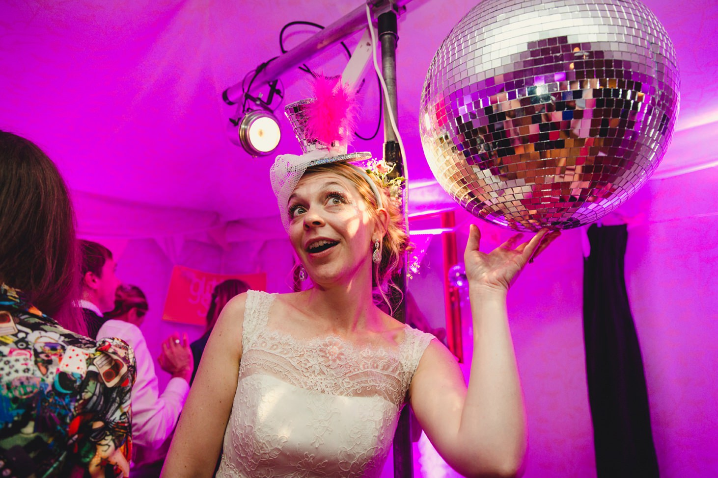 Bodleian library wedding bride with disco ball