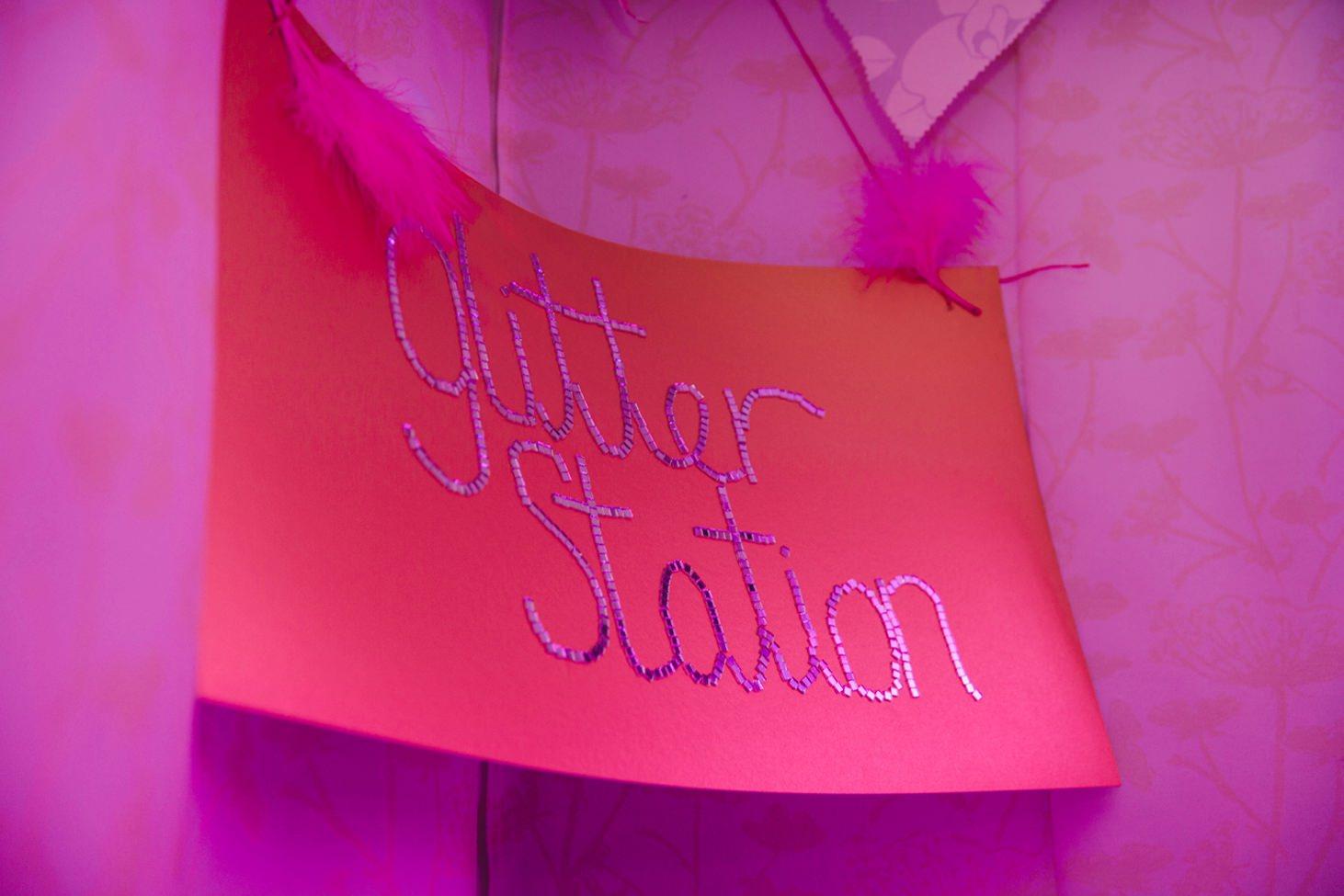 Bodleian library wedding glitter station sign