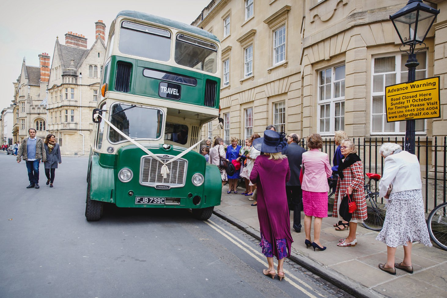 Bodleian library wedding guests getting off bus