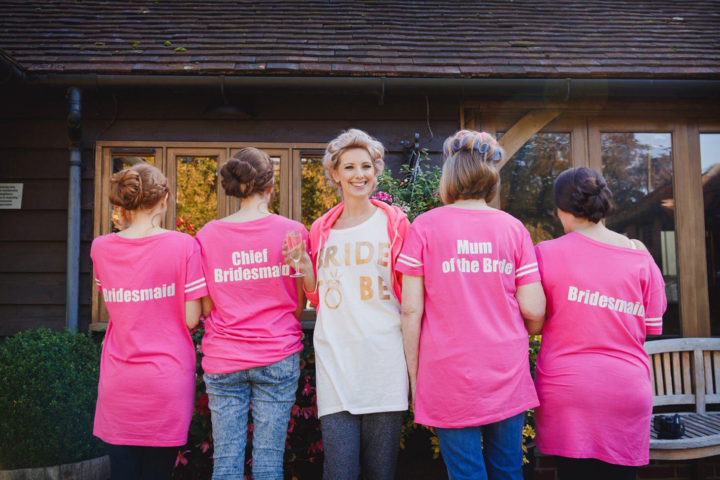 fun natural wedding photography bride and bridesmaids t-shirts