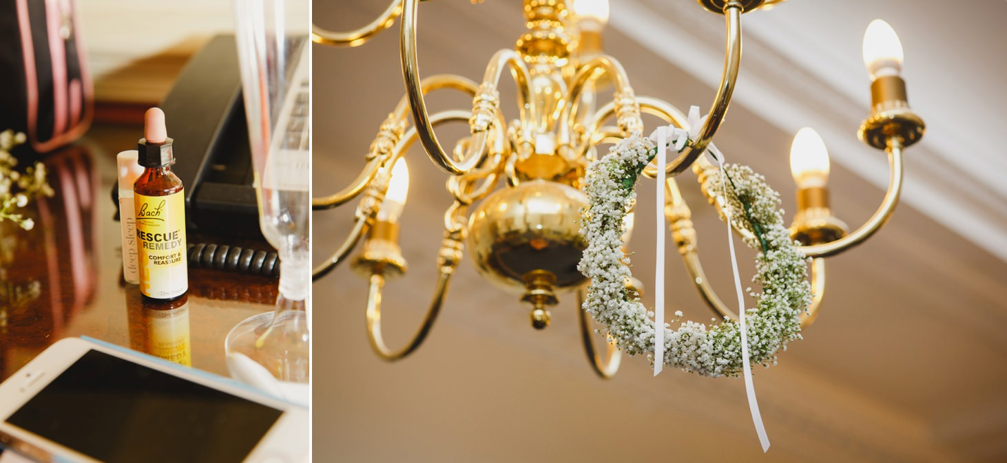 Down Hall hotel wedding photography floral crown