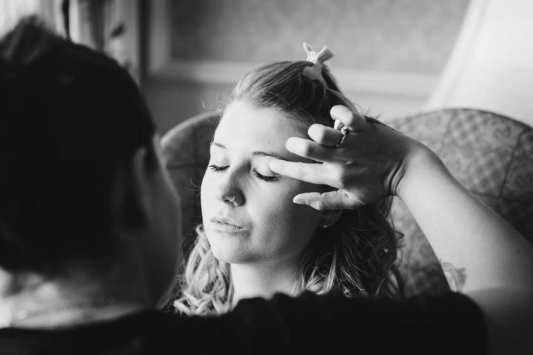 Down Hall hotel wedding photography bride makeup