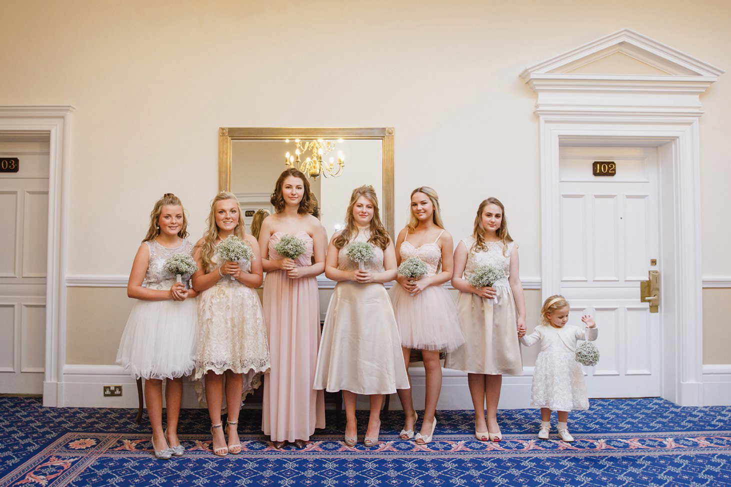 Down Hall hotel wedding photography bridesmaids together
