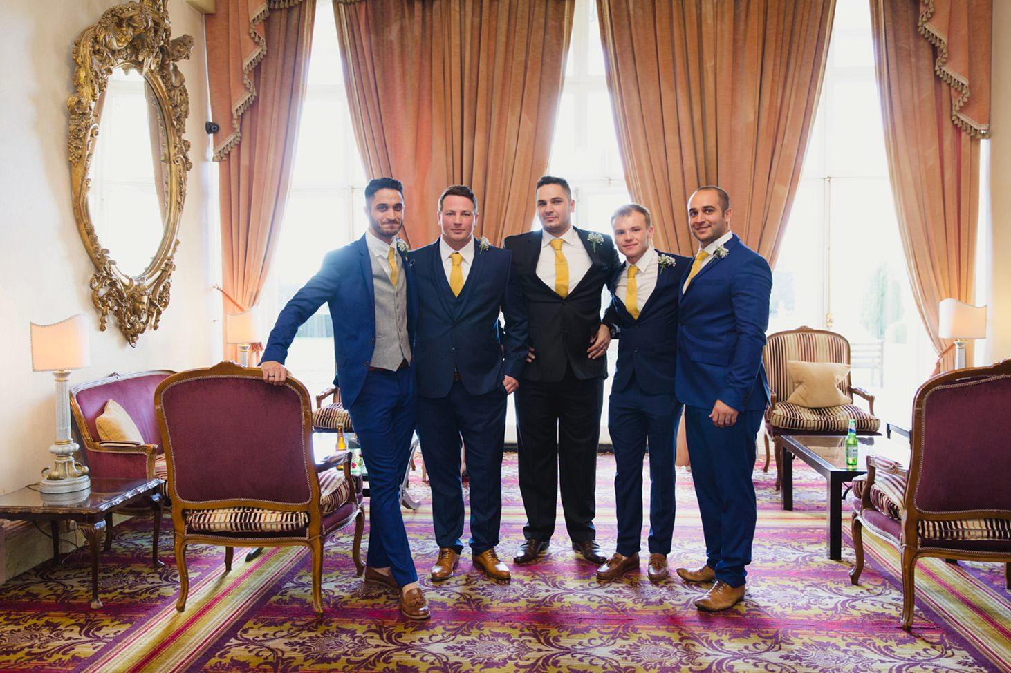 Down Hall hotel wedding photography groomsmen