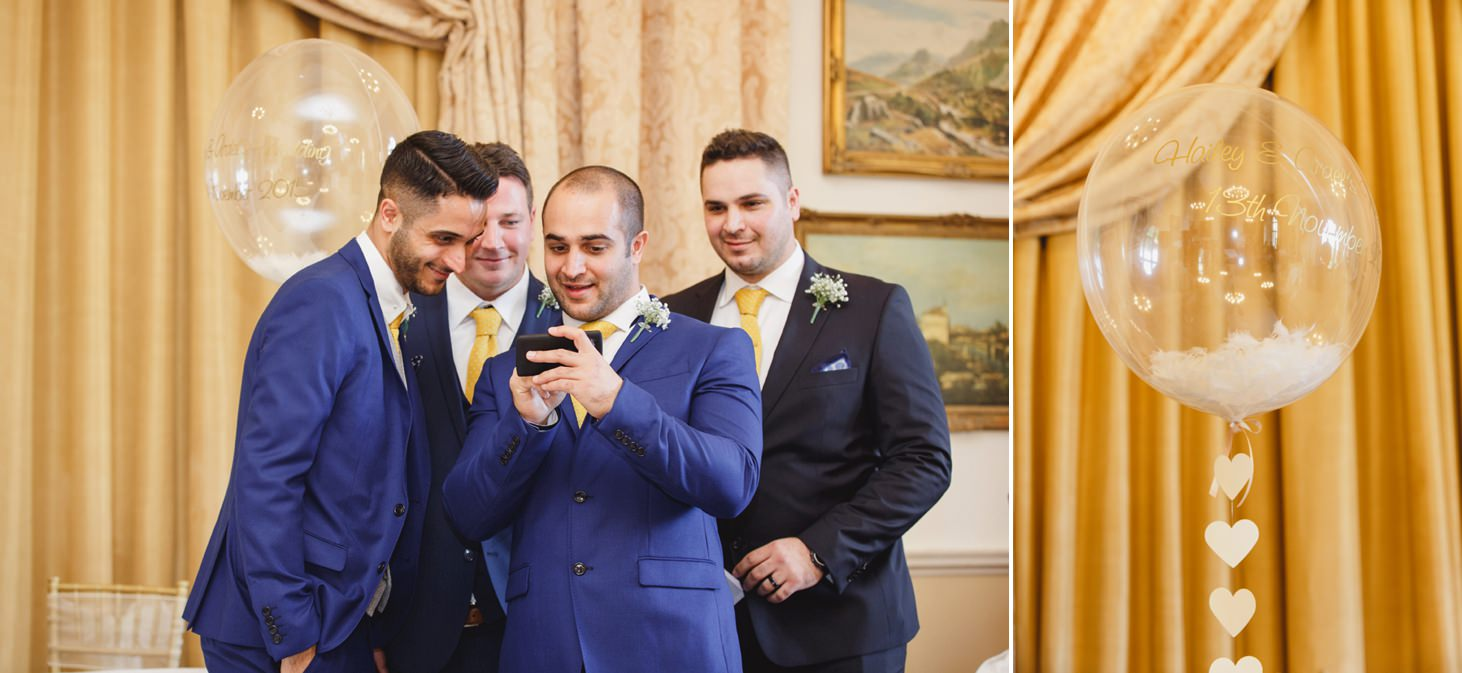 Down Hall hotel wedding photography groomsmen waiting for ceremony