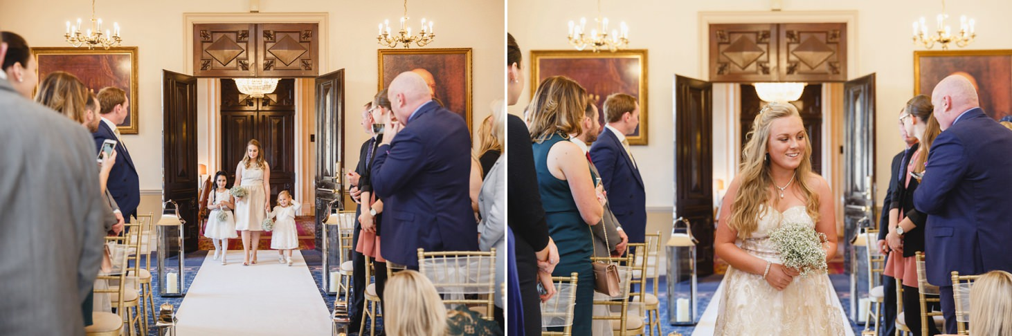 Down Hall hotel wedding photography bridesmaids waling down the aisle