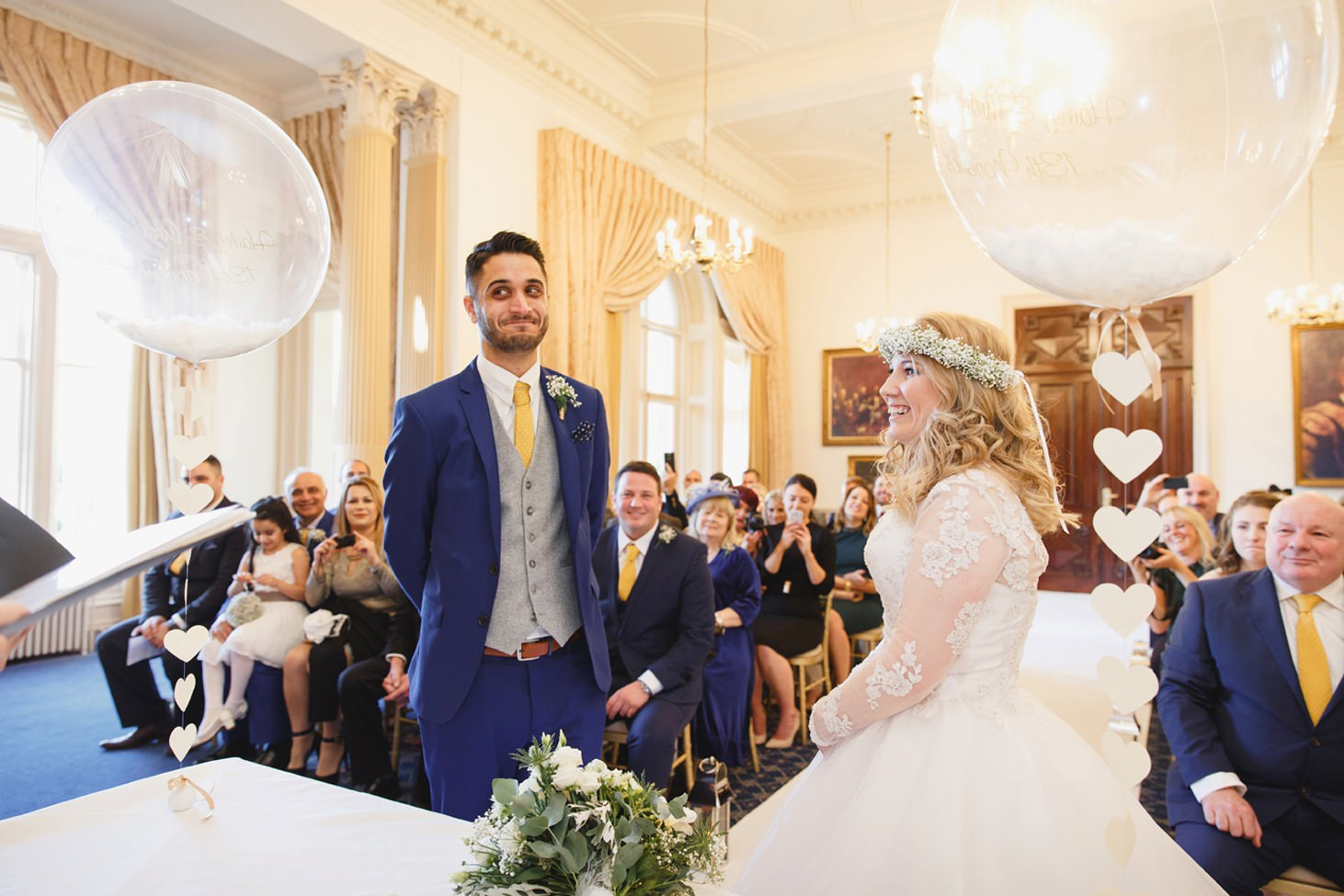 Down Hall hotel wedding photography bride and groom in ceremony