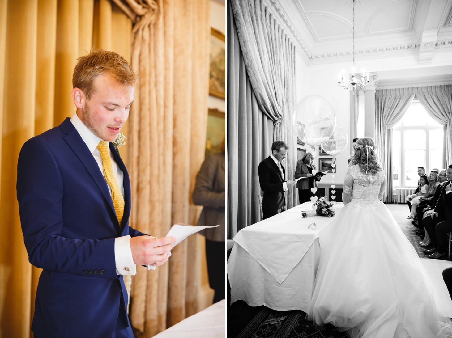 Down Hall hotel wedding photography wedding reading