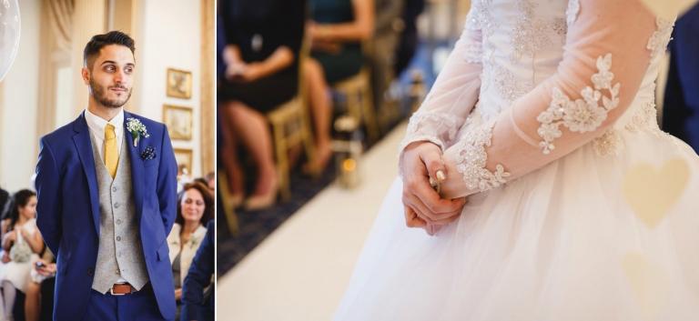 Down Hall hotel wedding photography groom in wedding ceremony