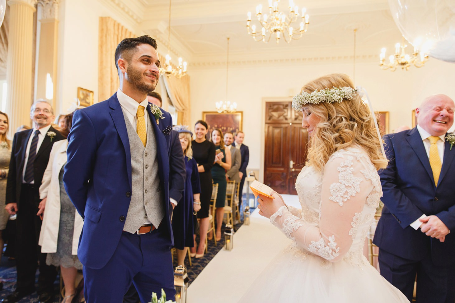 Down Hall hotel wedding photography bride and groom vows