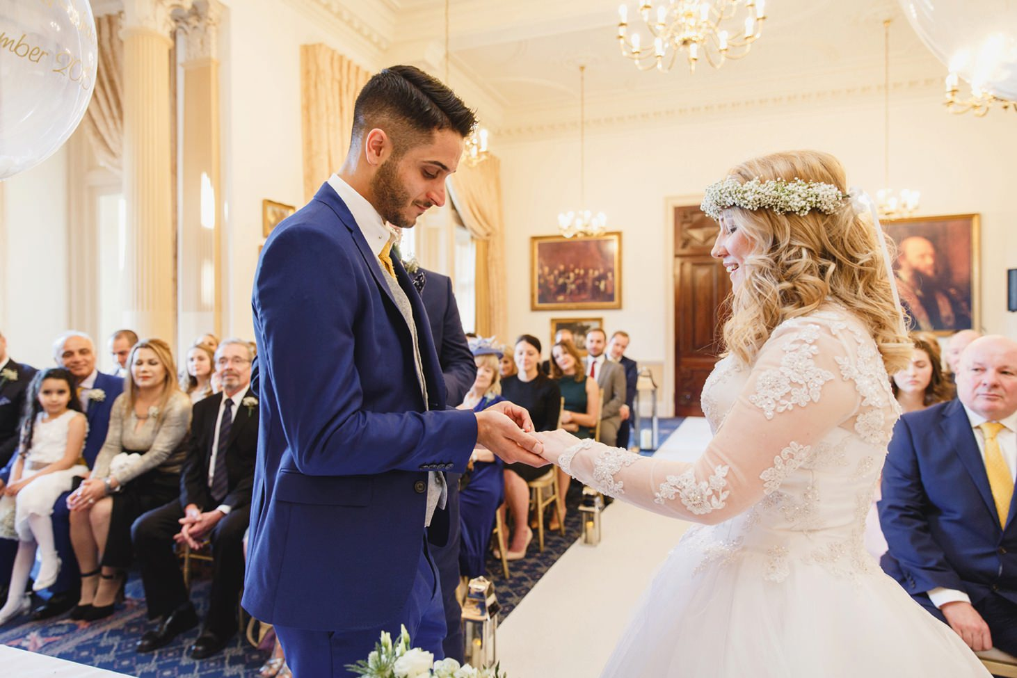Down Hall hotel wedding photography ring exchange