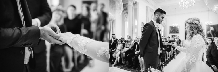 Down Hall hotel wedding photography exchange of rings