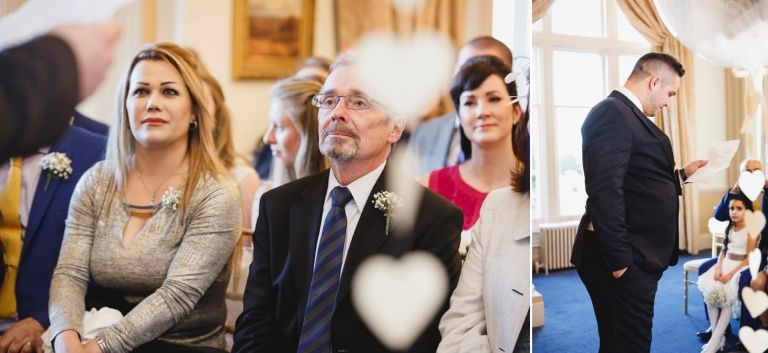 Down Hall hotel wedding photography guests at ceremony