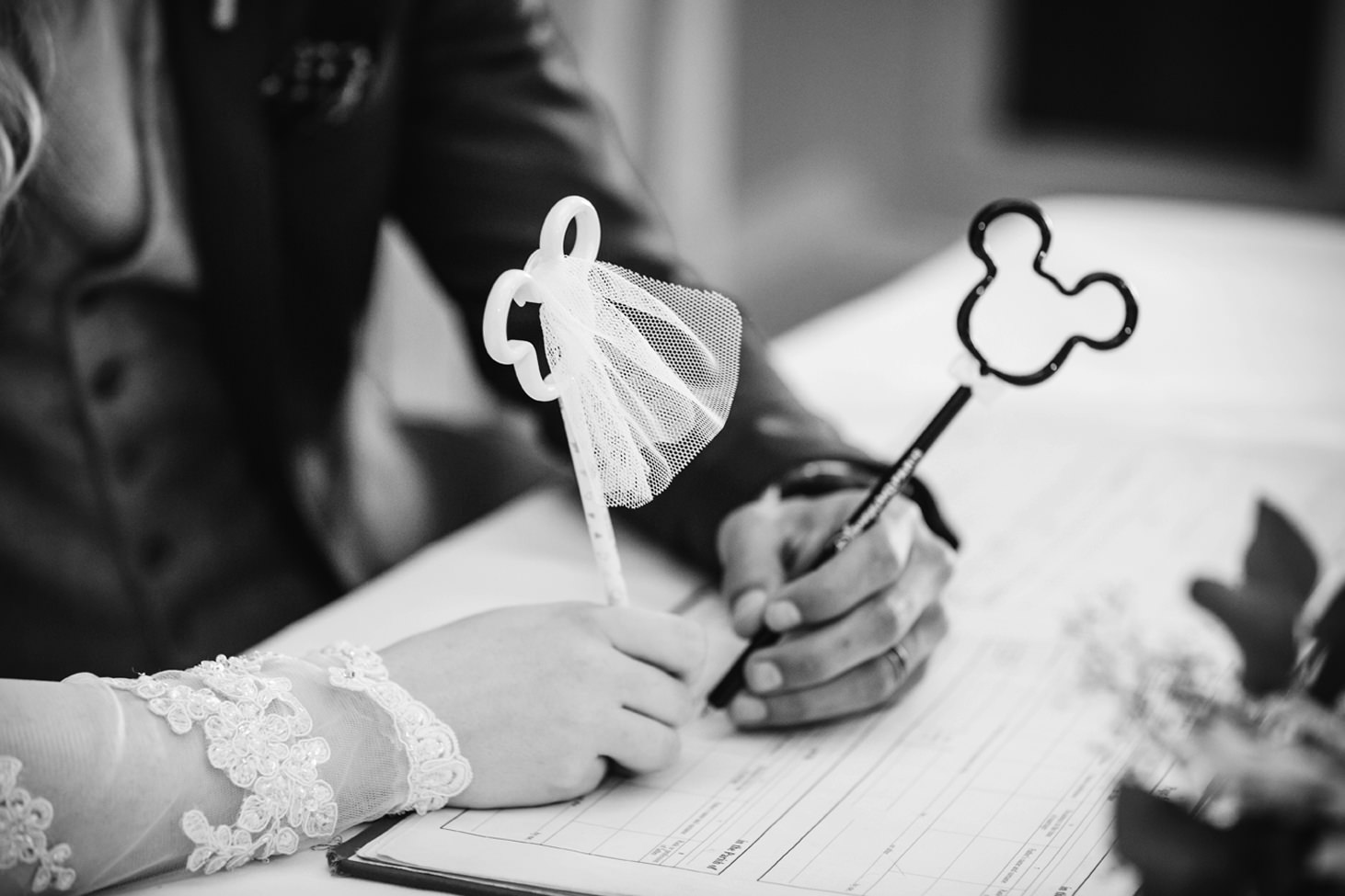 Down Hall hotel wedding photography mickey mouse pens