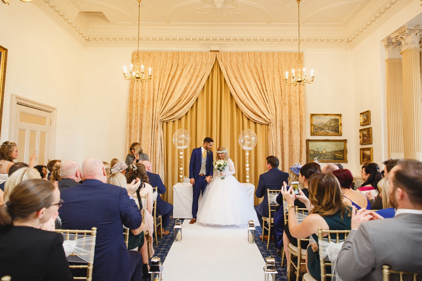 Down Hall hotel wedding photography bride and groom after ceremony