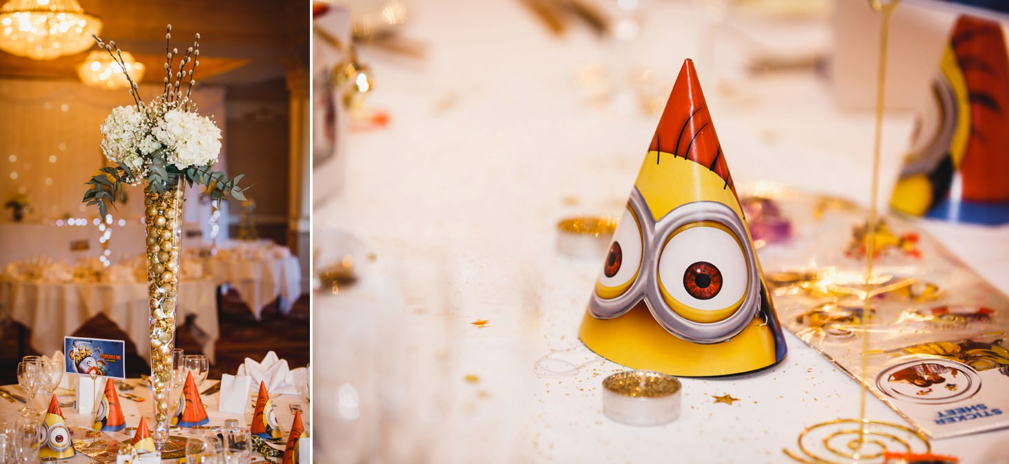 Down Hall hotel wedding photography minions table decorations