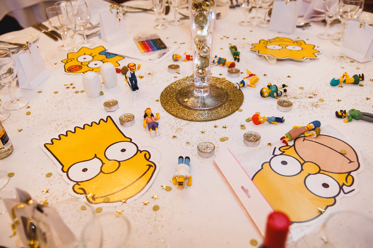 Down Hall hotel wedding photography the simpsons decorations