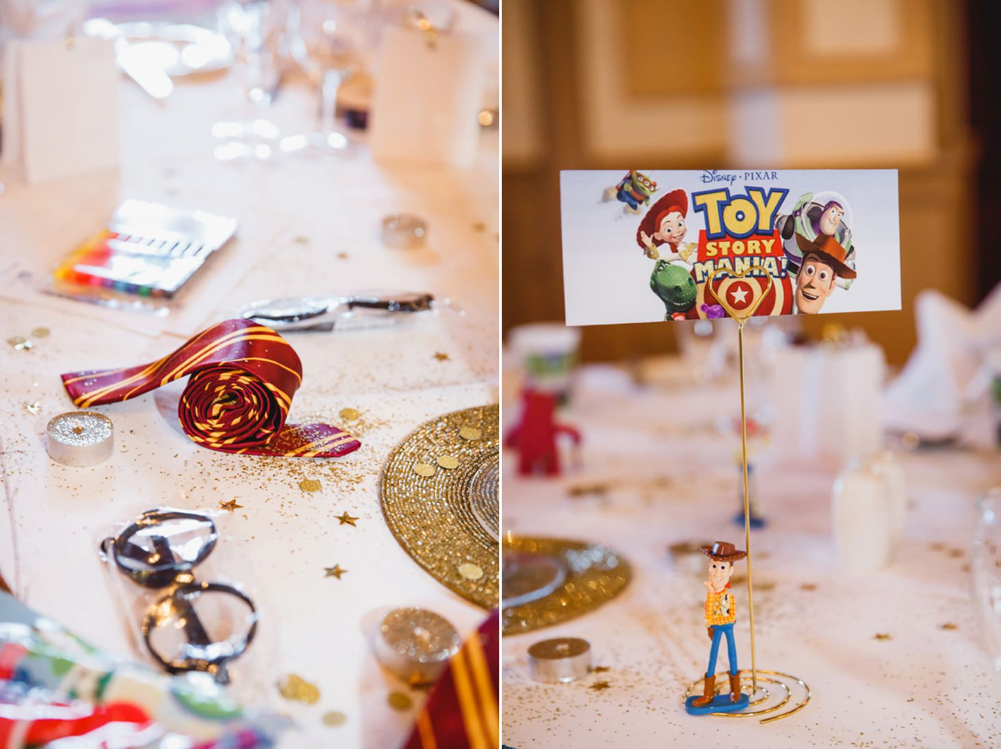 Down Hall hotel wedding photography toy story table decorations