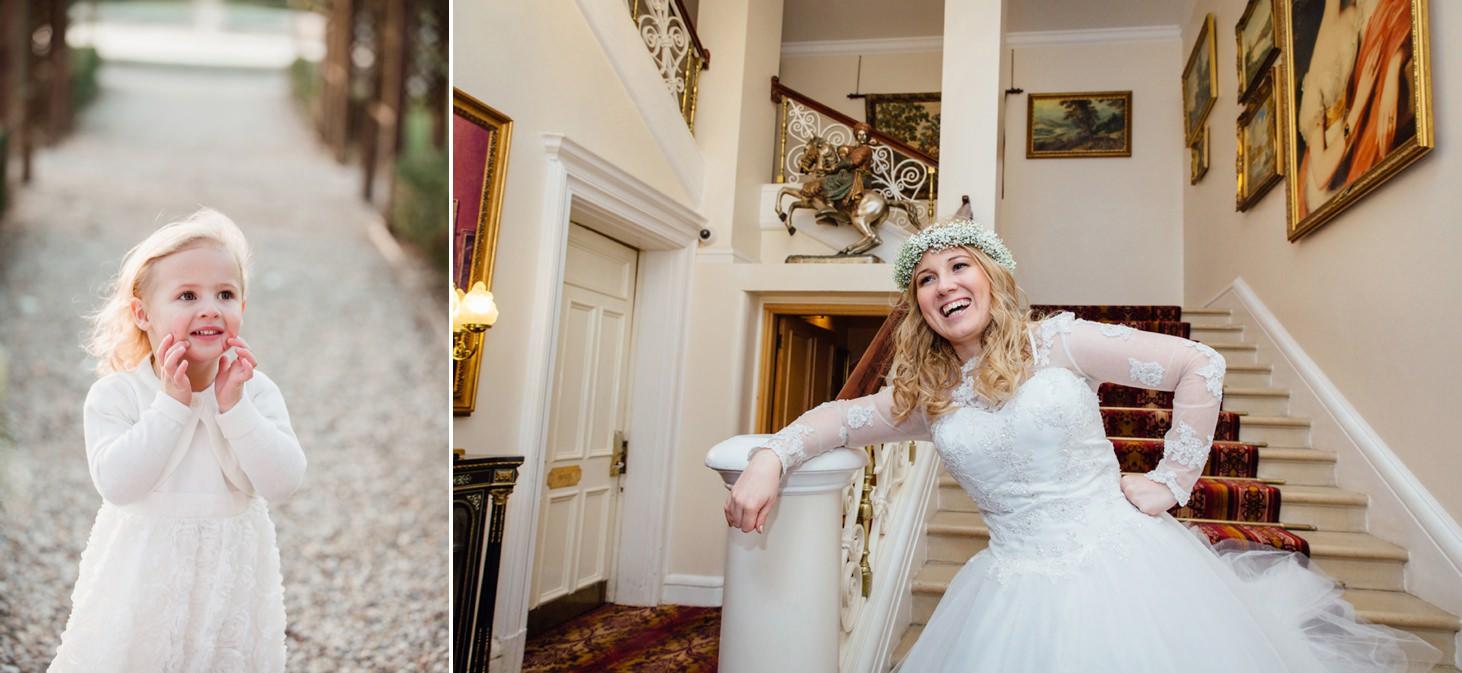 Down Hall hotel wedding photography happy bride