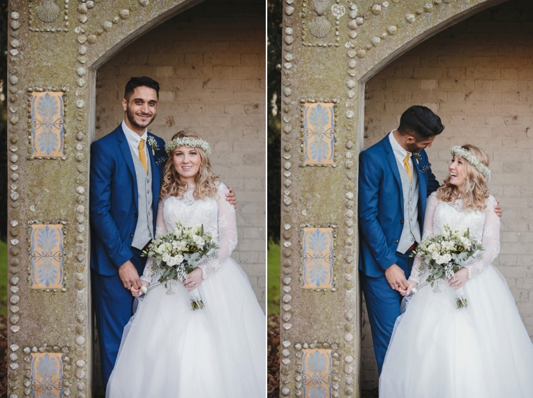 Down Hall hotel wedding photography bride and groom in shell shelter