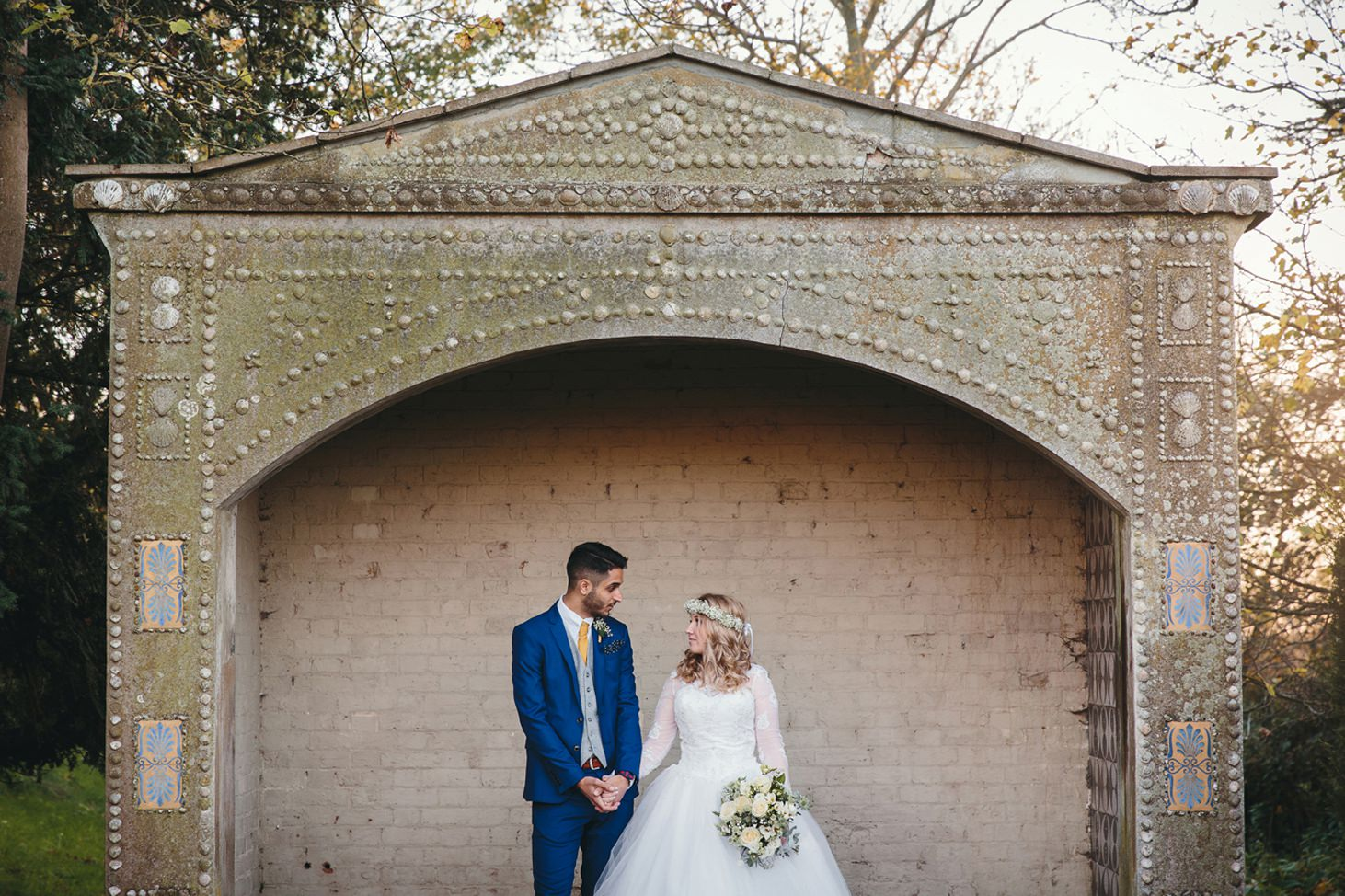Down Hall hotel wedding photography groom and bride