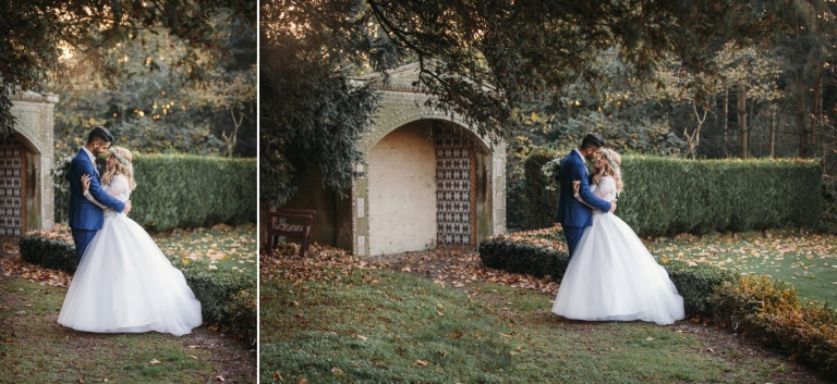Down Hall hotel wedding photography bride and groom in down hall gardens