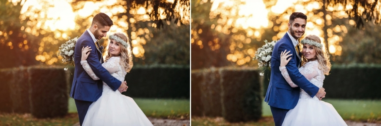 Down Hall hotel wedding photography bride and groom at sunset