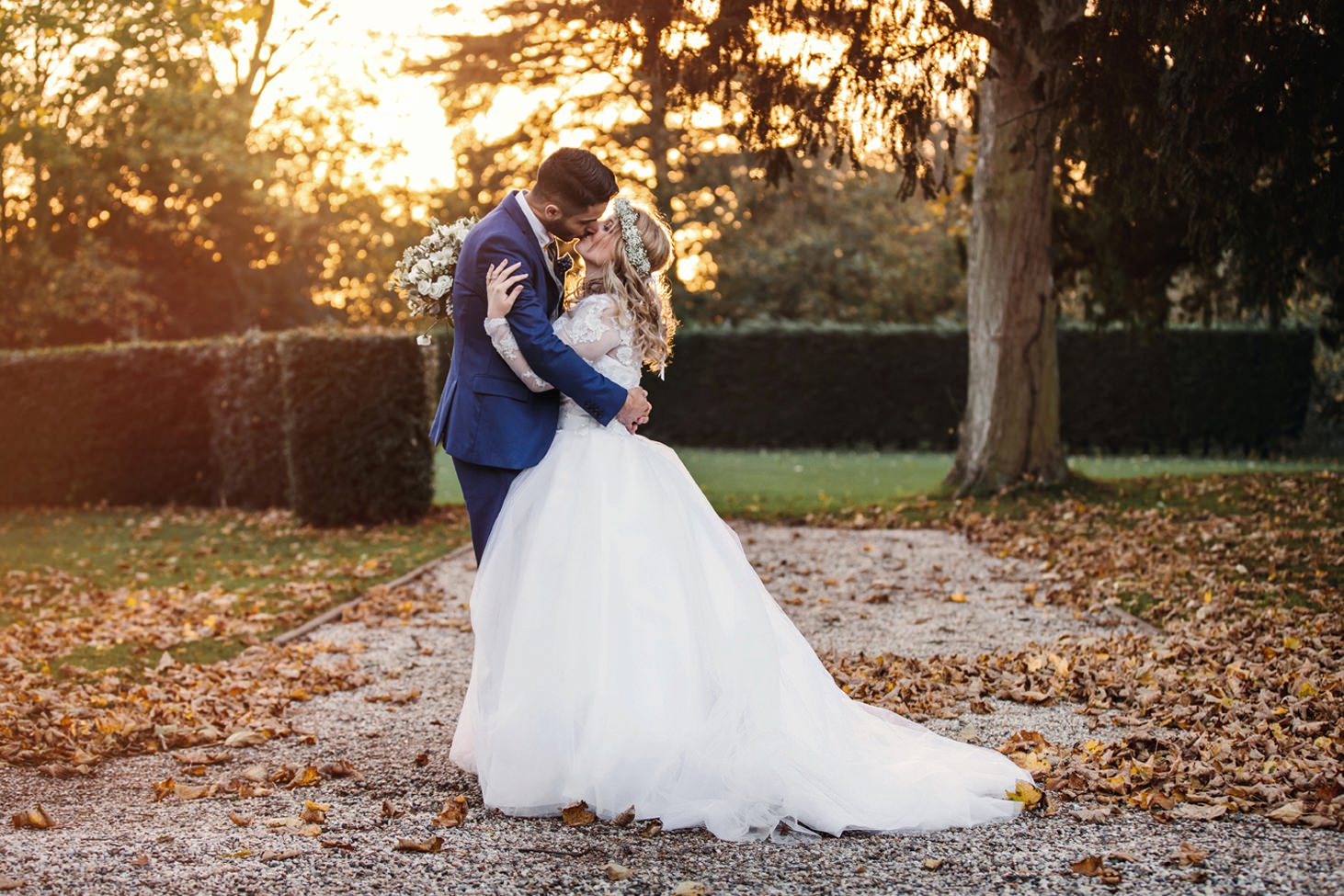 Down Hall hotel wedding photography sunset bride and groom
