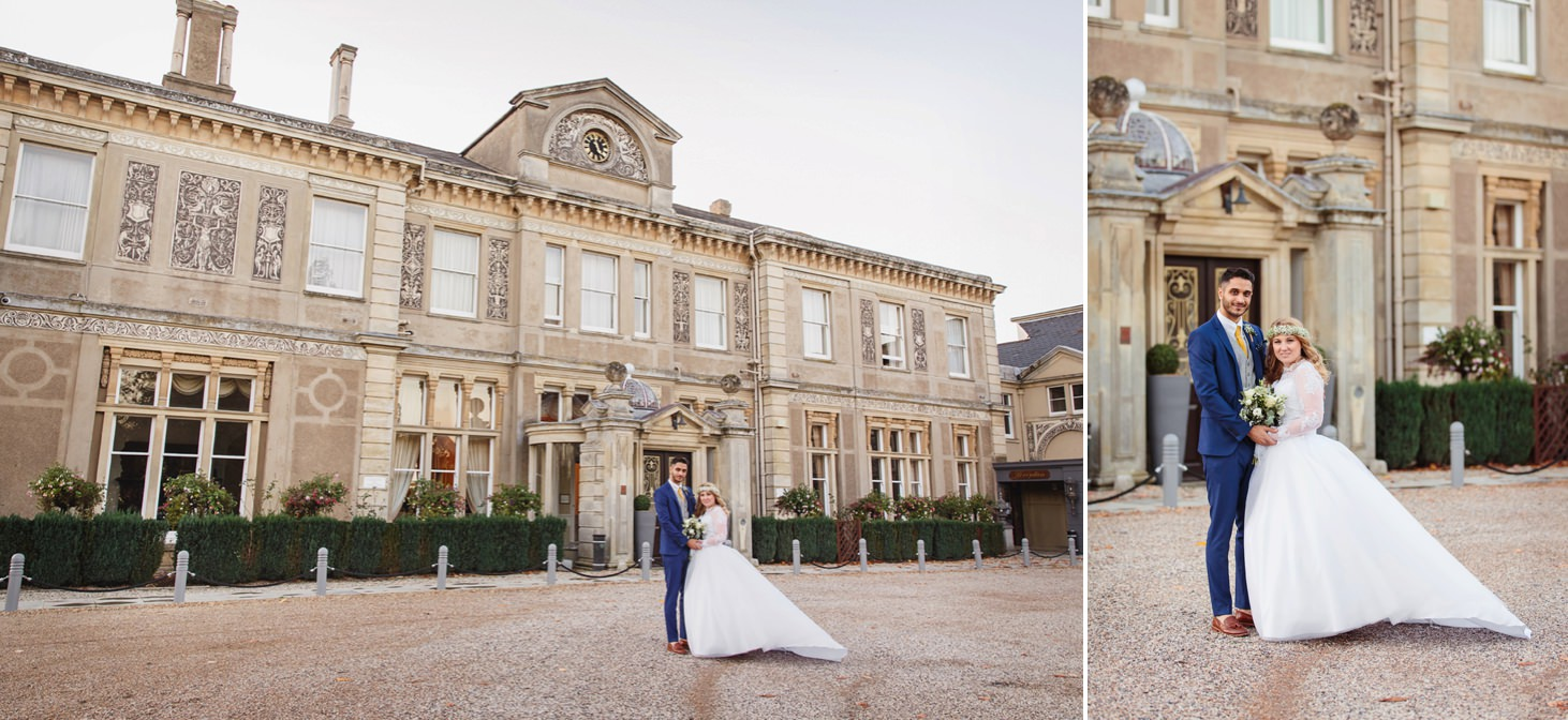 Down Hall hotel wedding photography bride and groom in front of hotel