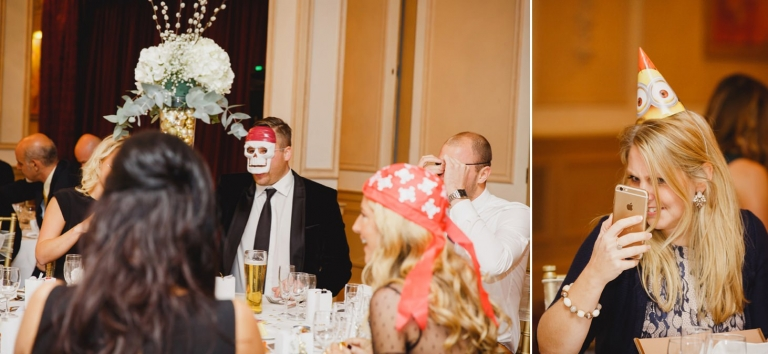 Down Hall hotel wedding photography wedding guests in pirate masks