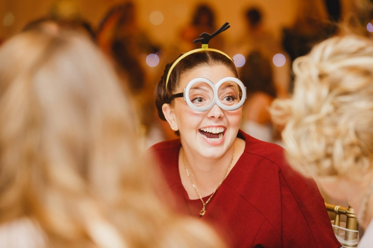 Down Hall hotel wedding photography guest in minions glasses