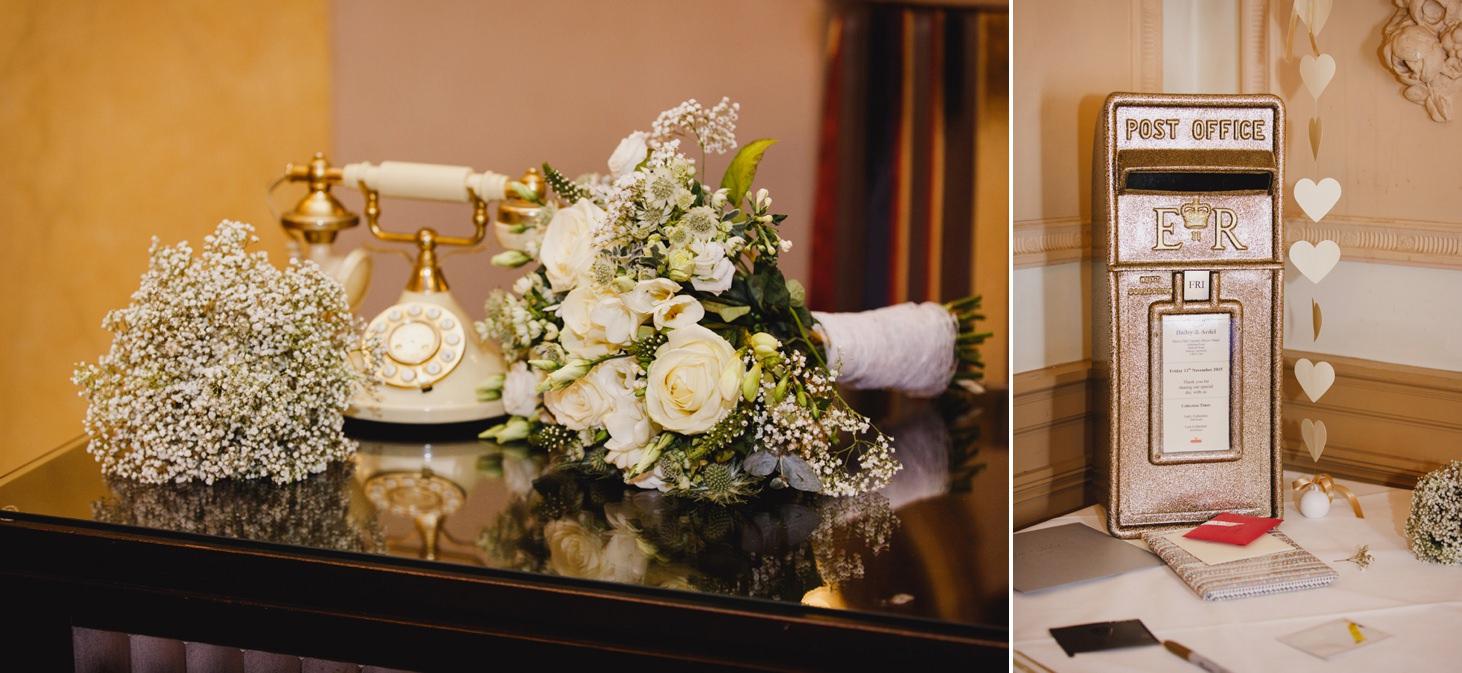 Down Hall hotel wedding photography wedding postbox