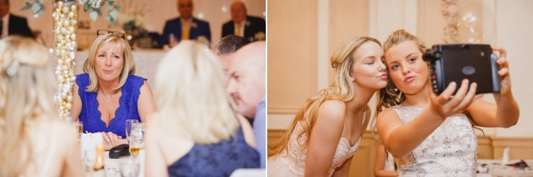 Down Hall hotel wedding photography wedding guests at reception