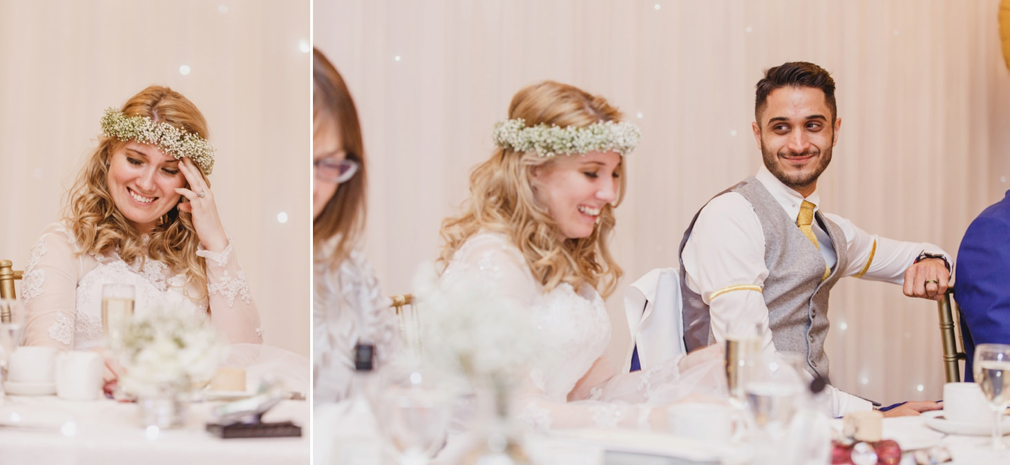 Down Hall hotel wedding photography bride laughing speech