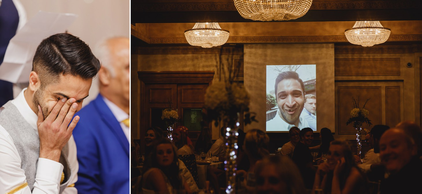 Down Hall hotel wedding photography embarrassed groom