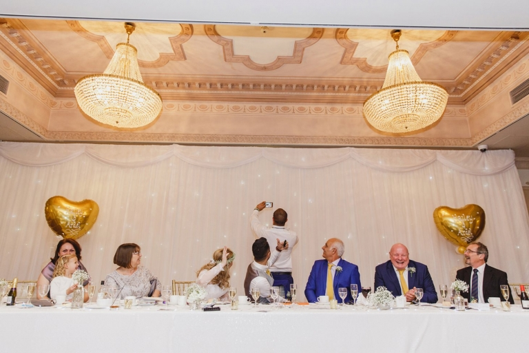 Down Hall hotel wedding photography wedding speech selfie