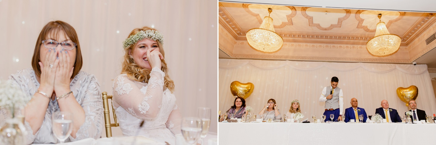 Down Hall hotel wedding photography fun speech