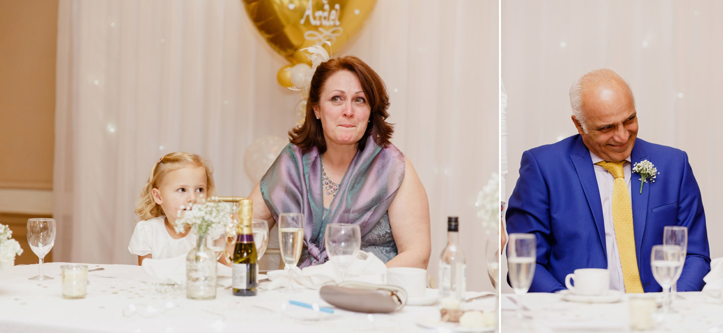 Down Hall hotel wedding photography parents of the groom