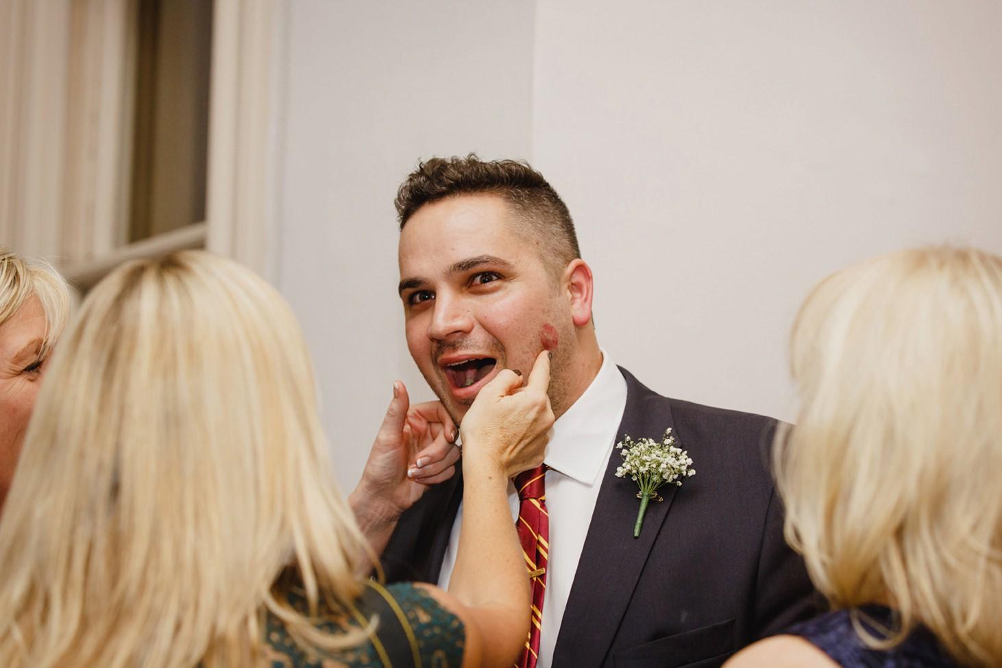 Down Hall hotel wedding photography fun portrait of best man