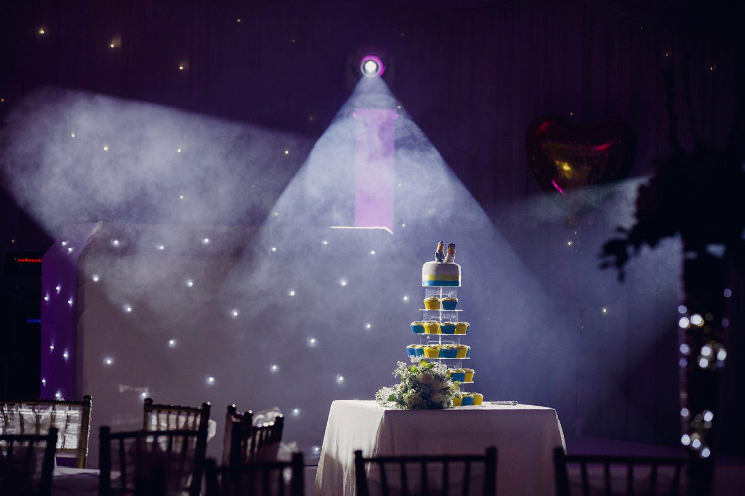 Down Hall hotel wedding photography wedding cake and spotlight
