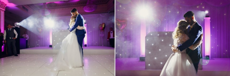 Down Hall hotel wedding photography bride and groom dancing