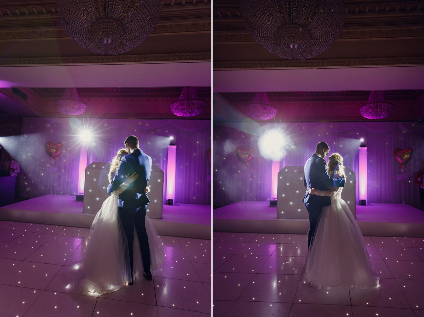 Down Hall hotel wedding photography groom and bride first dance