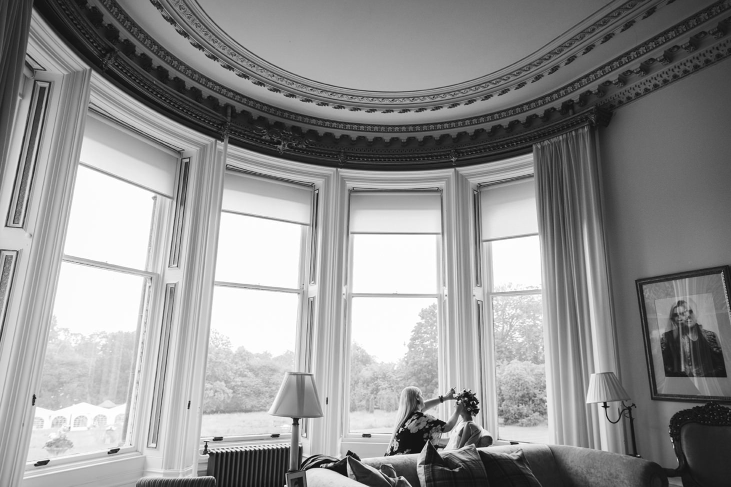 mount stuart wedding photography bride in windows