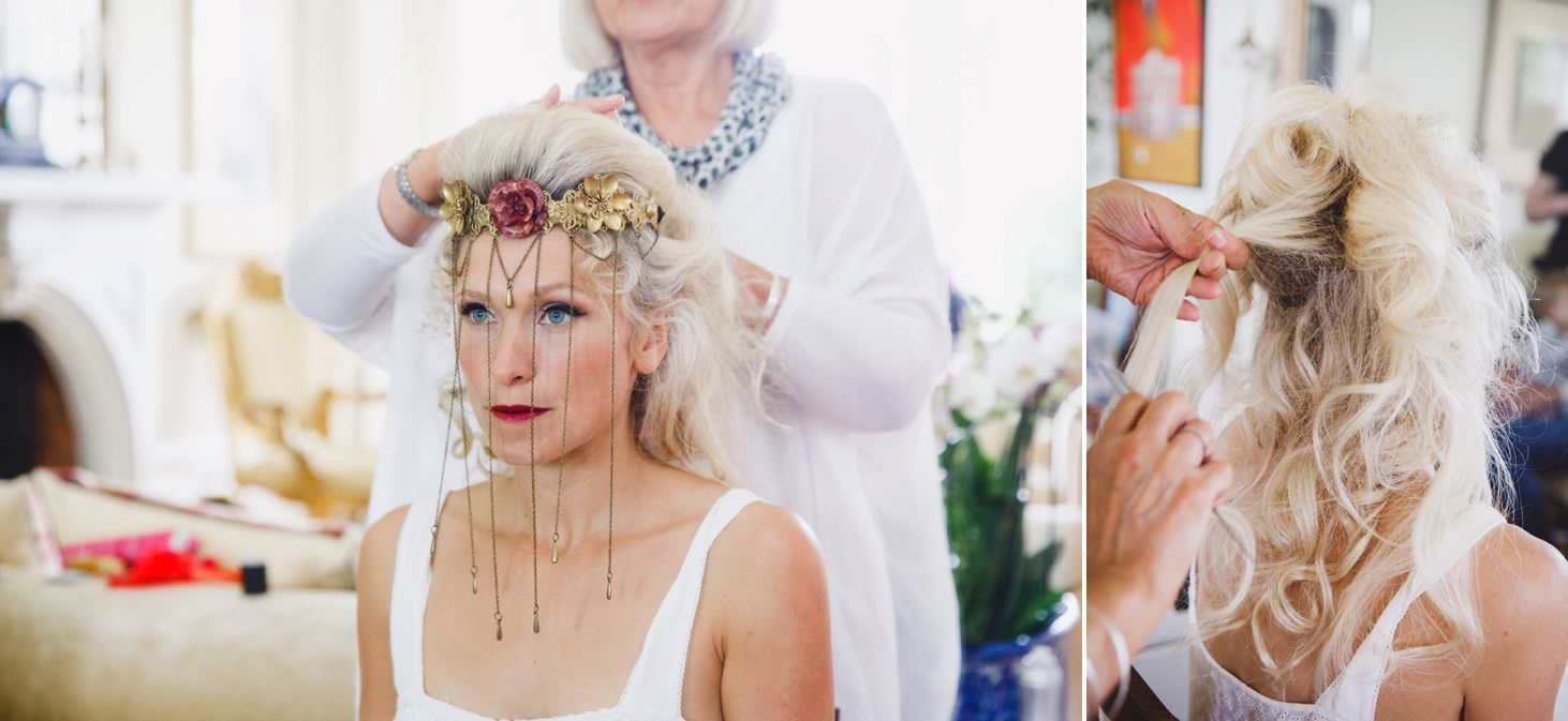 mount stuart wedding photography bride having hair done