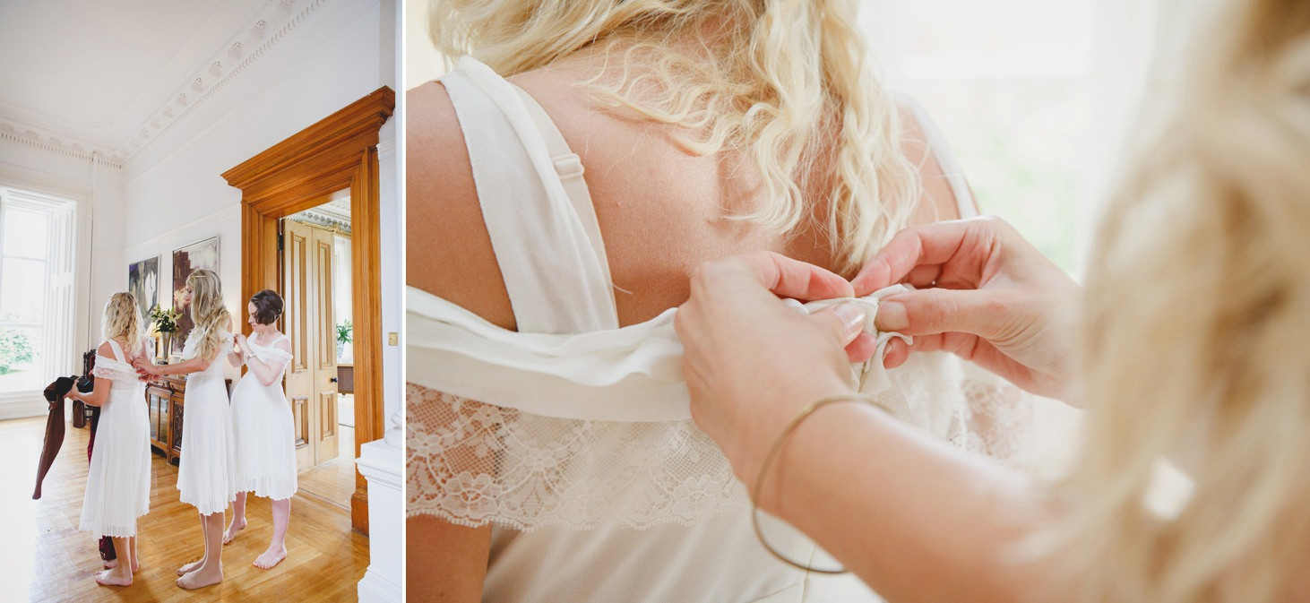 mount stuart wedding photography bridesmaids getting dressed